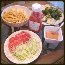 Condiments, toppings, and veggies!